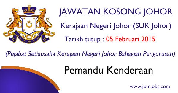 Jawatan Kosong Kerajaan Negeri Johor (SUK Johor) 2015 Terkini
