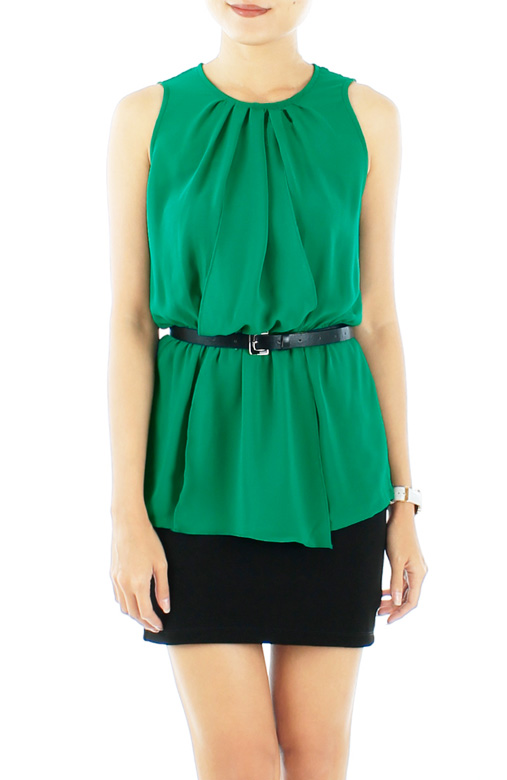 Jewel Green ZARA-inspired Overlay Peplum Chiffon Blouse