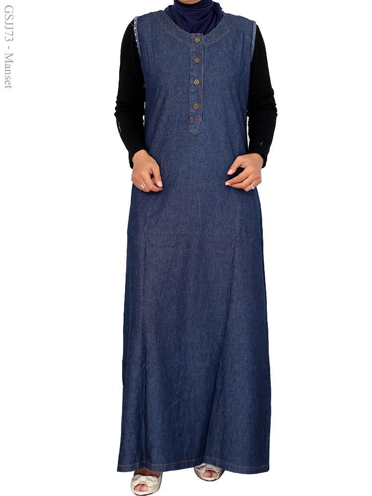 Gamis Jeans Jumbo Gsjj73 Busana Muslim Murah Terbaru