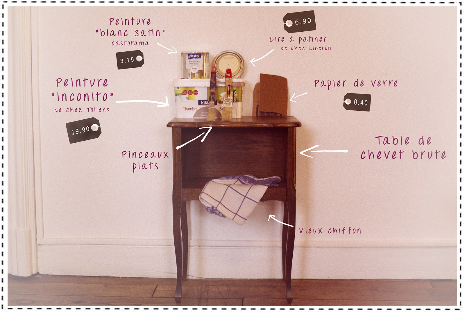 diy r nover une table de chevet petit prix. Black Bedroom Furniture Sets. Home Design Ideas