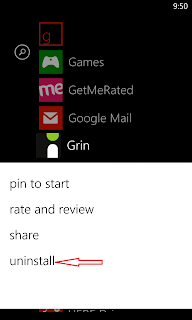 Uninstall an app on Windows Phone 8