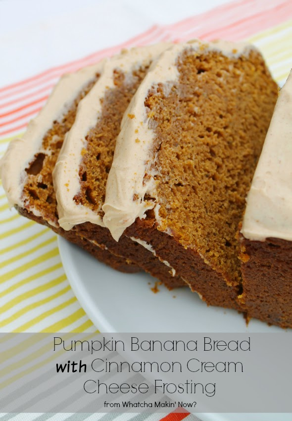 Pumpkin Banana Bread with Cinnamon Cream Cheese Frosting