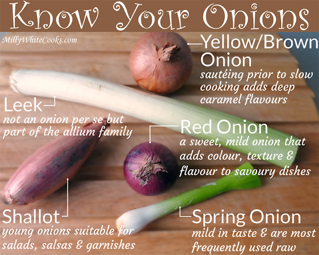Clockwise from bottom left - Shallot, Leek, Brown Onion, Spring Onion/Scallion, Red Onion