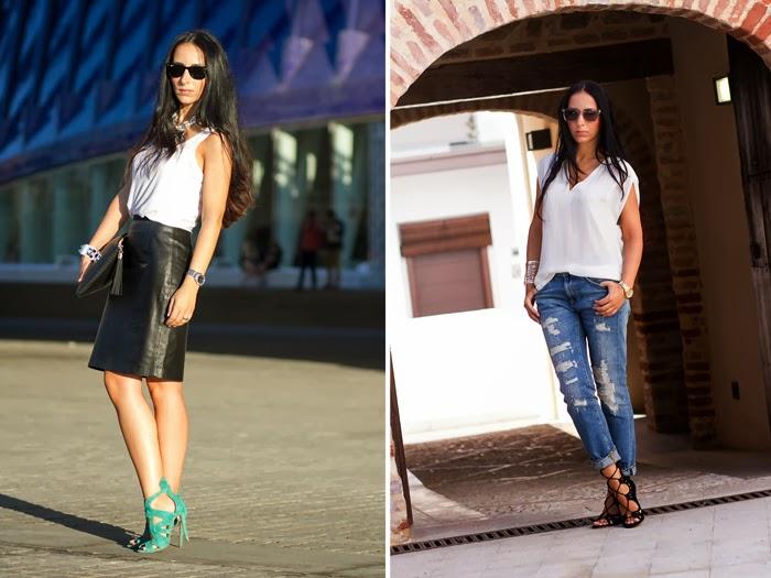 Resumen outfits Falda Lápiz de Cuero y Sandalias atadas