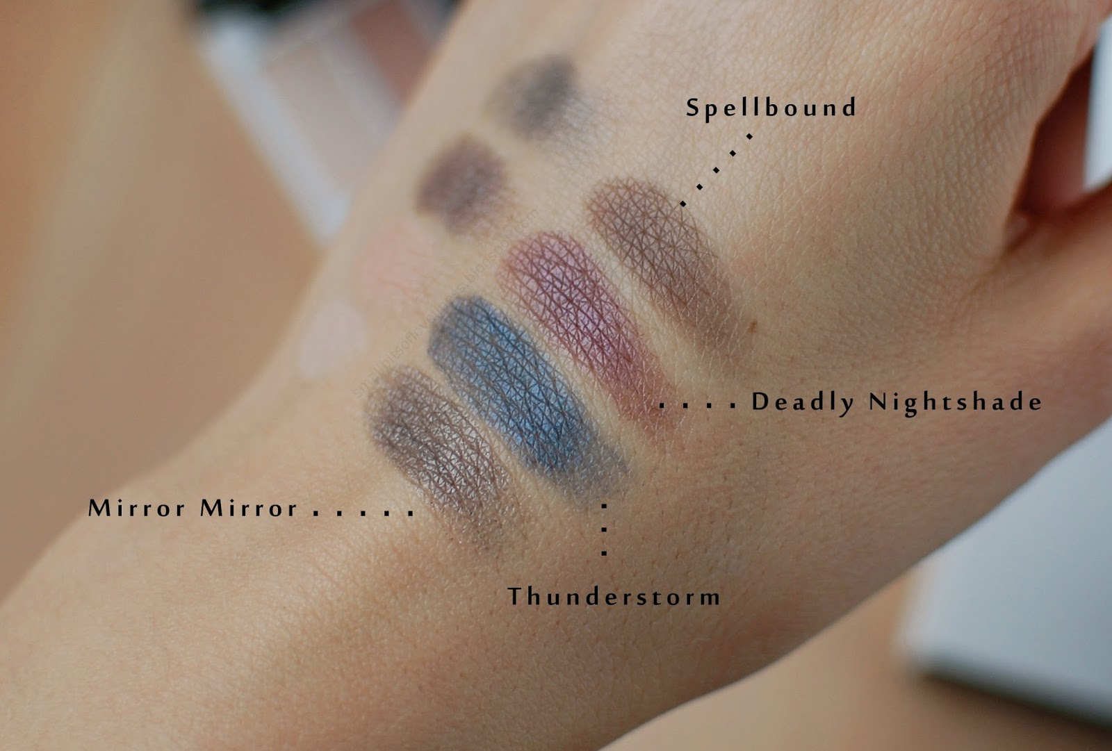 Lily Lolo Enchanted Eye Palette swatches