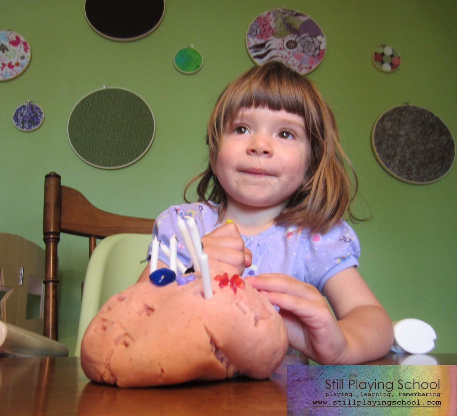 You Just Need Play Dough Ours Is Homemade Candles And Trinkets Beads For Sprinkles Decorations Poking The In Cake Great