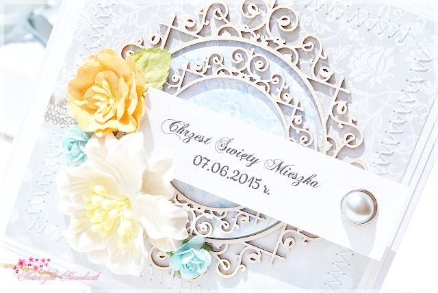 kartka z okazji chrztu świętego w pudełku scrapbooking