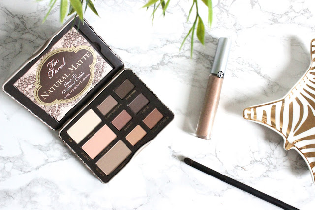 Too Faced Natural Matte Palette, Giorgio Armani Eye Tint in Rose Ashes, Nars Precision Contour Brush #44