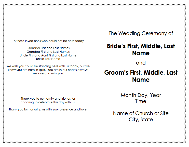free wedding program templates for word