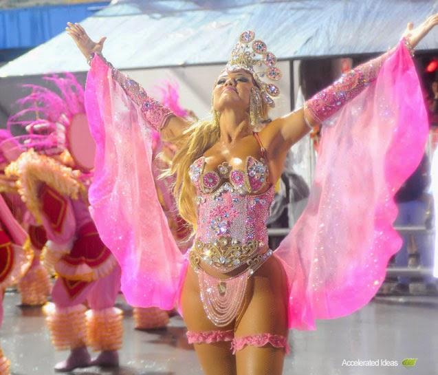 Ellen Roche Wears Barbie Costume - Brazil Carnival 2014