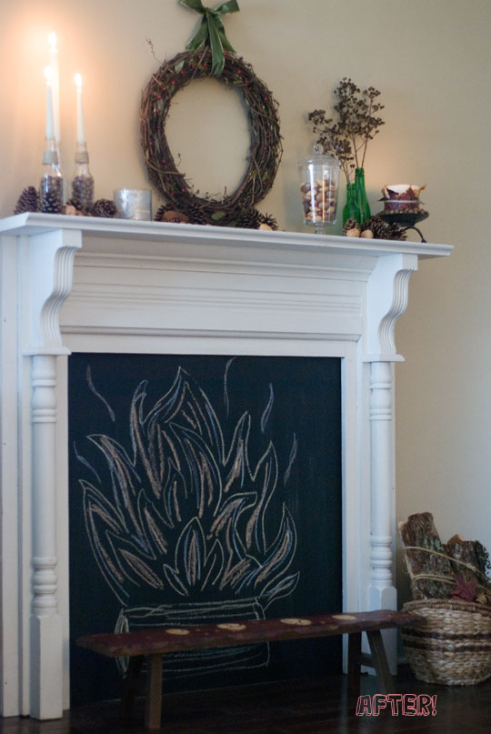 two men and a little farm of faux fireplaces and fake mantels