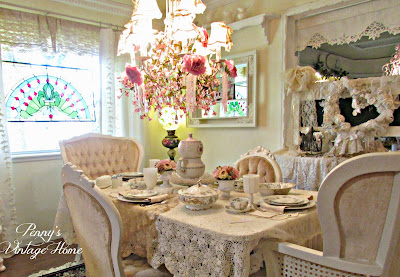 beautiful auction dishes tablescape