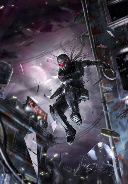 vincent ptitvinc deviantart ilustrações artes conceituais fantasia futurista robôs tecnologia robô Saltando pela janela