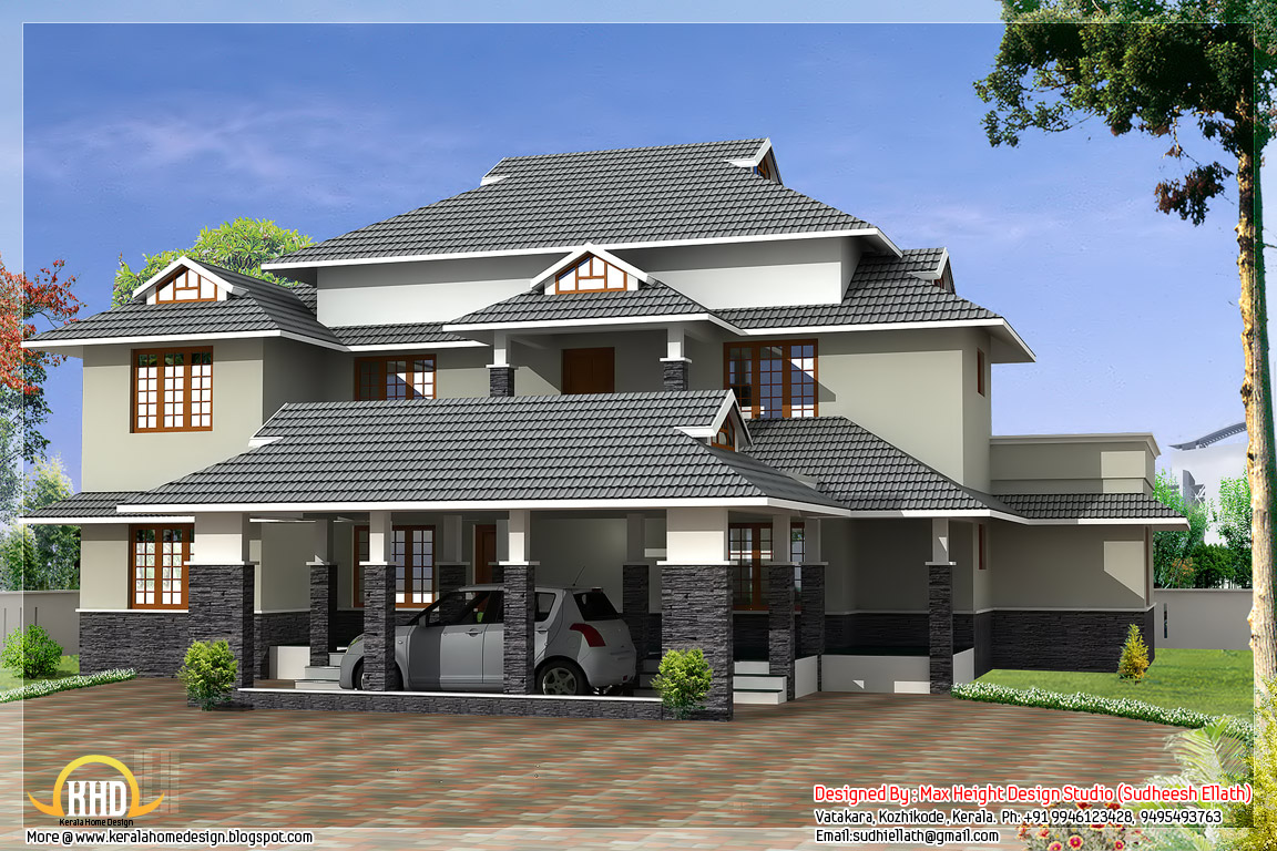 4 different style india house elevations kerala home for Different house styles pictures