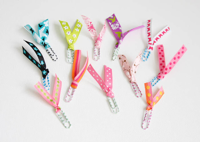 paper clip and ribbon bookmarks