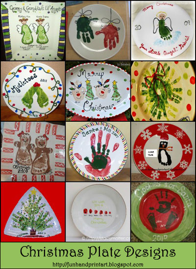 Handprint Plate Christmas, Footprint Plate Keepsake, Thumbprint Christmas Art