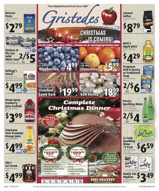 CHECK OUT ROOSEVELT ISLAND GRISTEDES Products, Sales & Specials For December 14 - December 20