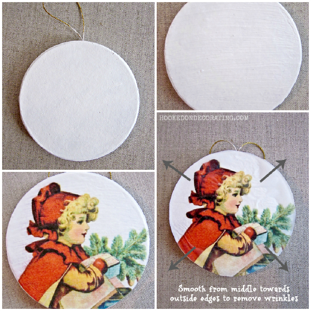 Diy retro christmas decorations - Vintage Christmas Ornaments Tutorial Paint The Trim Or Use A White Trim To Decorate The Ornaments And Make A Pretty Border Around It Using Glue