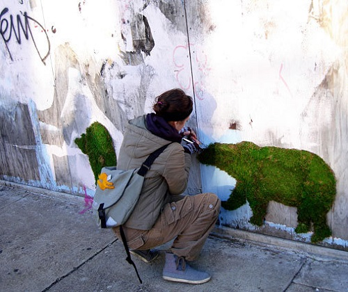 graffiti art made of moss