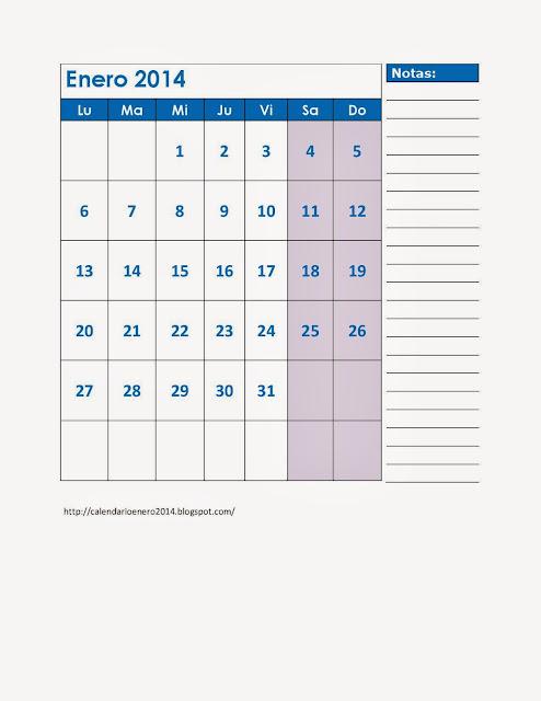 Calendario Para Imprimir Enero 2014, Enero 2014 Calendario Gratis