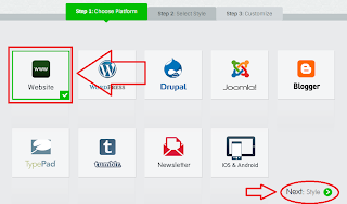 Select Website on Choose Platform