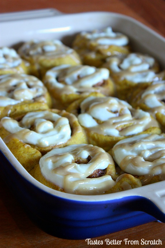 Pumpkin Cinnamon Rolls with Cream Cheese and Caramel Frosting | Tastes ...