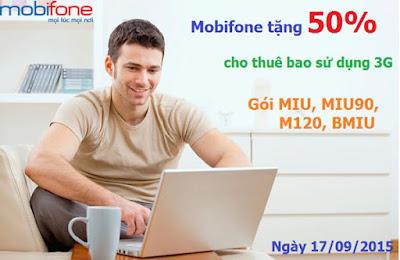 Ưu đãi 50% giá trị thẻ sử dụng 3G gói MIU MIU90 M120 BMIU