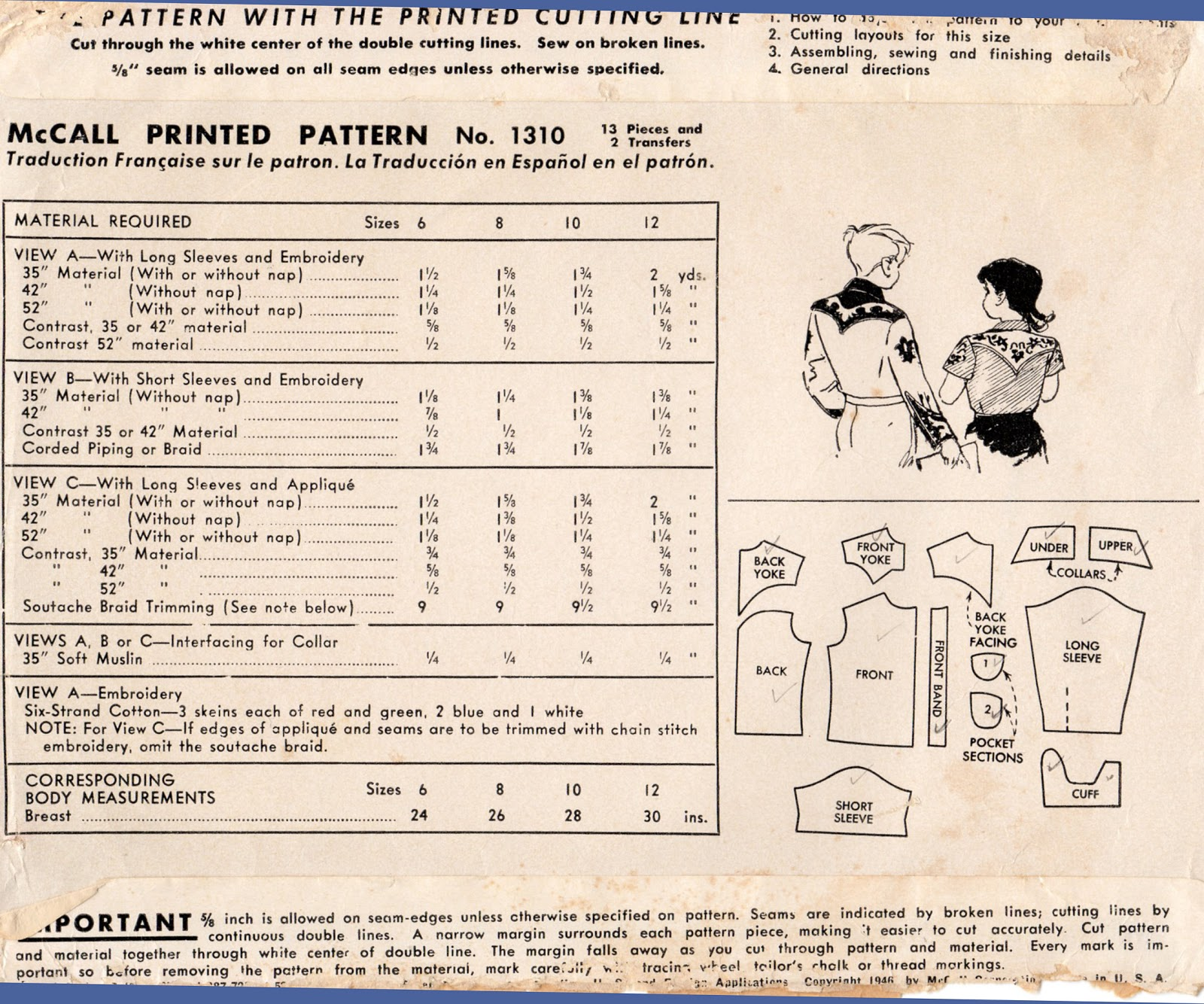 Unsung sewing patterns mccall 1310 boys or girls western shirts unsung sewing patterns jeuxipadfo Images