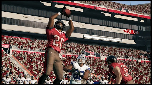 Receiver catching football in Wii U version of Madden NFL 13