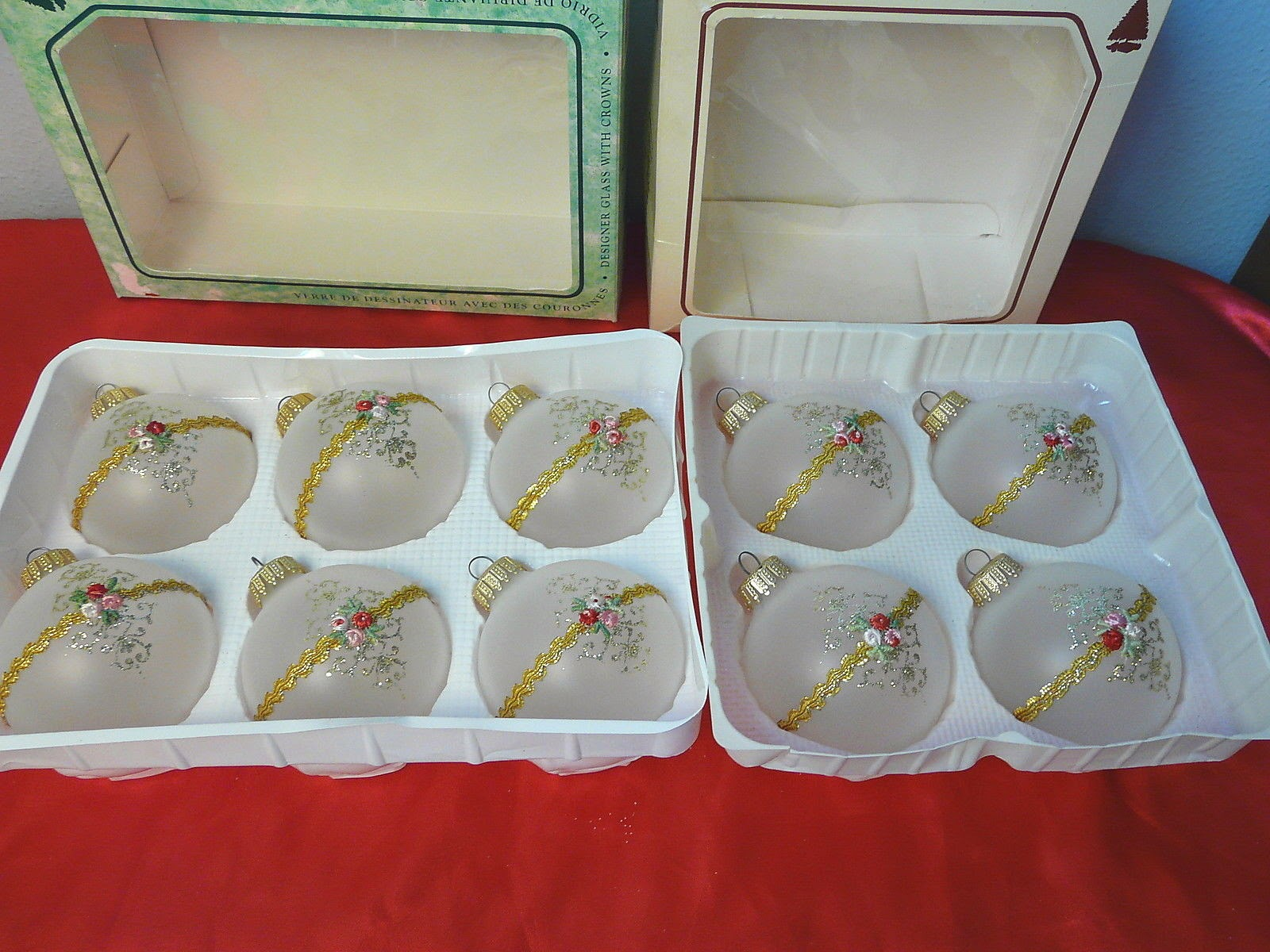 Vintage 1980's Glittered Ribbon Frosted Glass Ornaments Christmas by Krebs