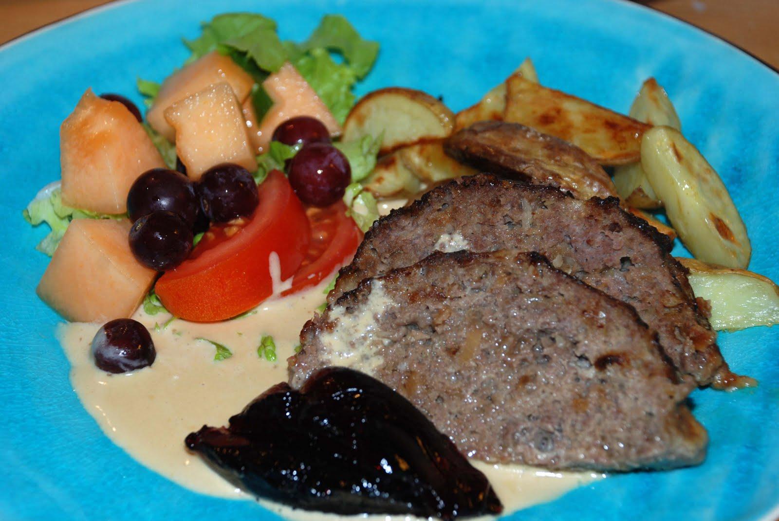 köttfärs med fransk löksoppa