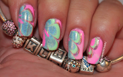 Nail art - water marble with holographic nail polish