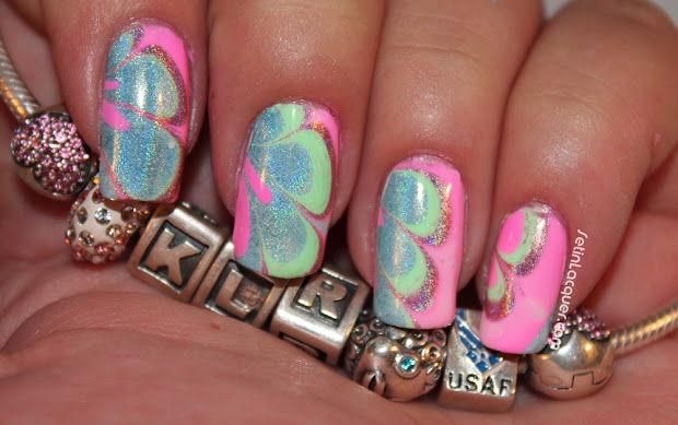 water marbling with holo polish