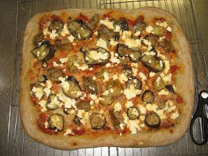 Ellen's eggplant ricotta pizza