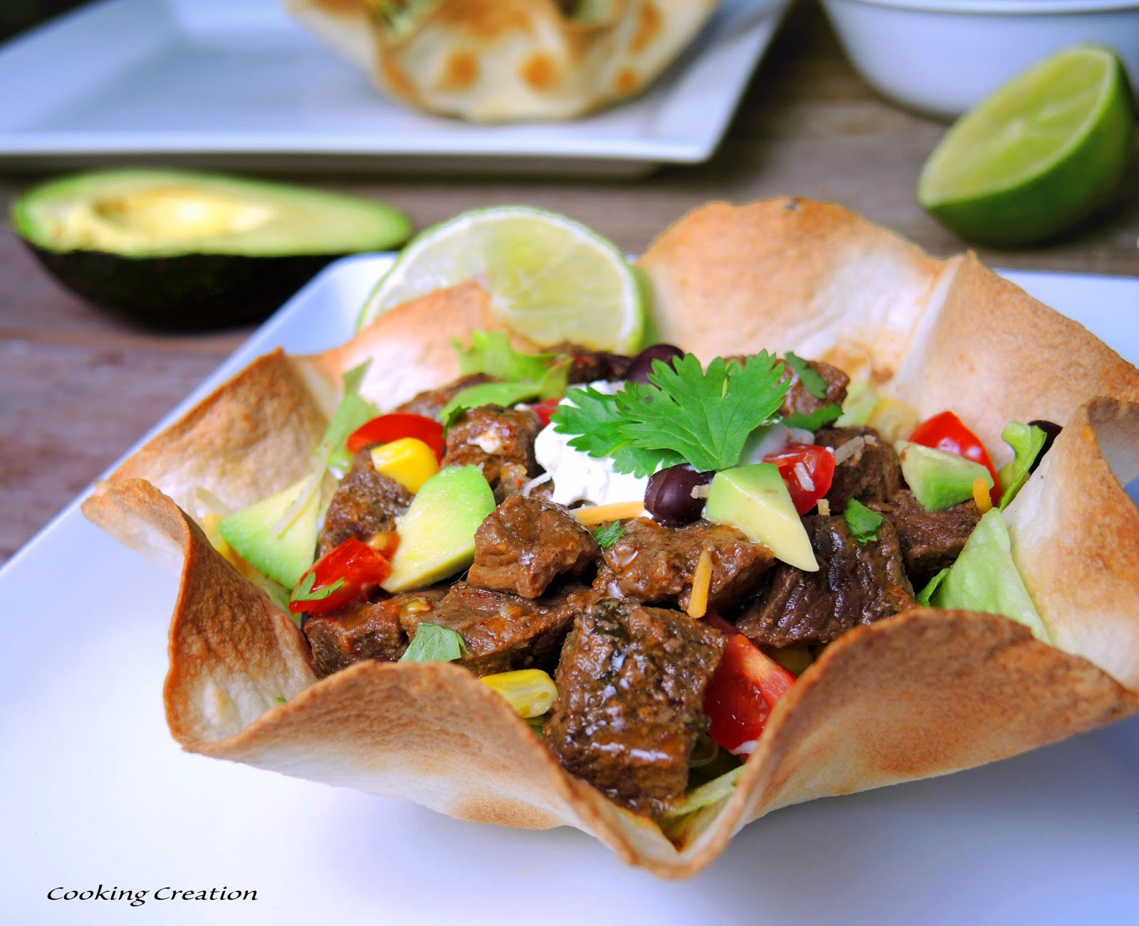 Cooking Creation: Crock Pot Chipotle Steak Taco Salad Bowls