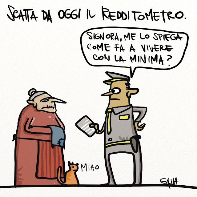 Gava gavavenezia satira vignette illustrazione caricatura fumetto ridere gavagnin marco illustratore disegno meno italia rosso verde bianco finanza redditometro vecchia gatto finanziere