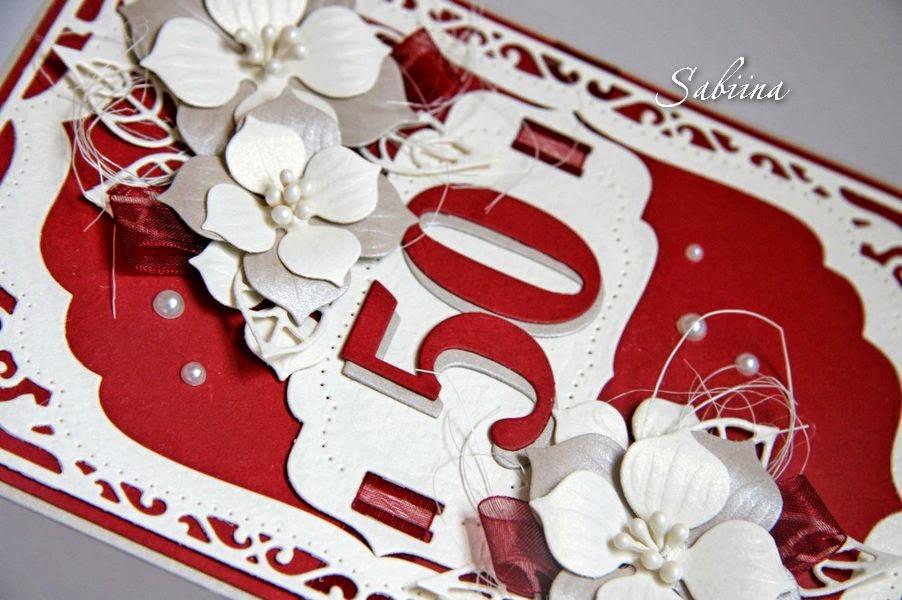 Открытка на 50-летний юбилей, к юбилею, сувениры на память, открытка ручной работы, hand made, цветочная открытка для женщины, сувенир своими руками, ваниль+бордо, вырубка
