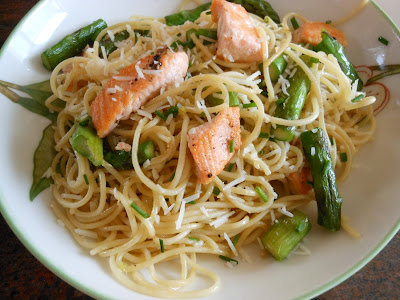 sweet and savory: Spaghetti with Salmon & Asparagus