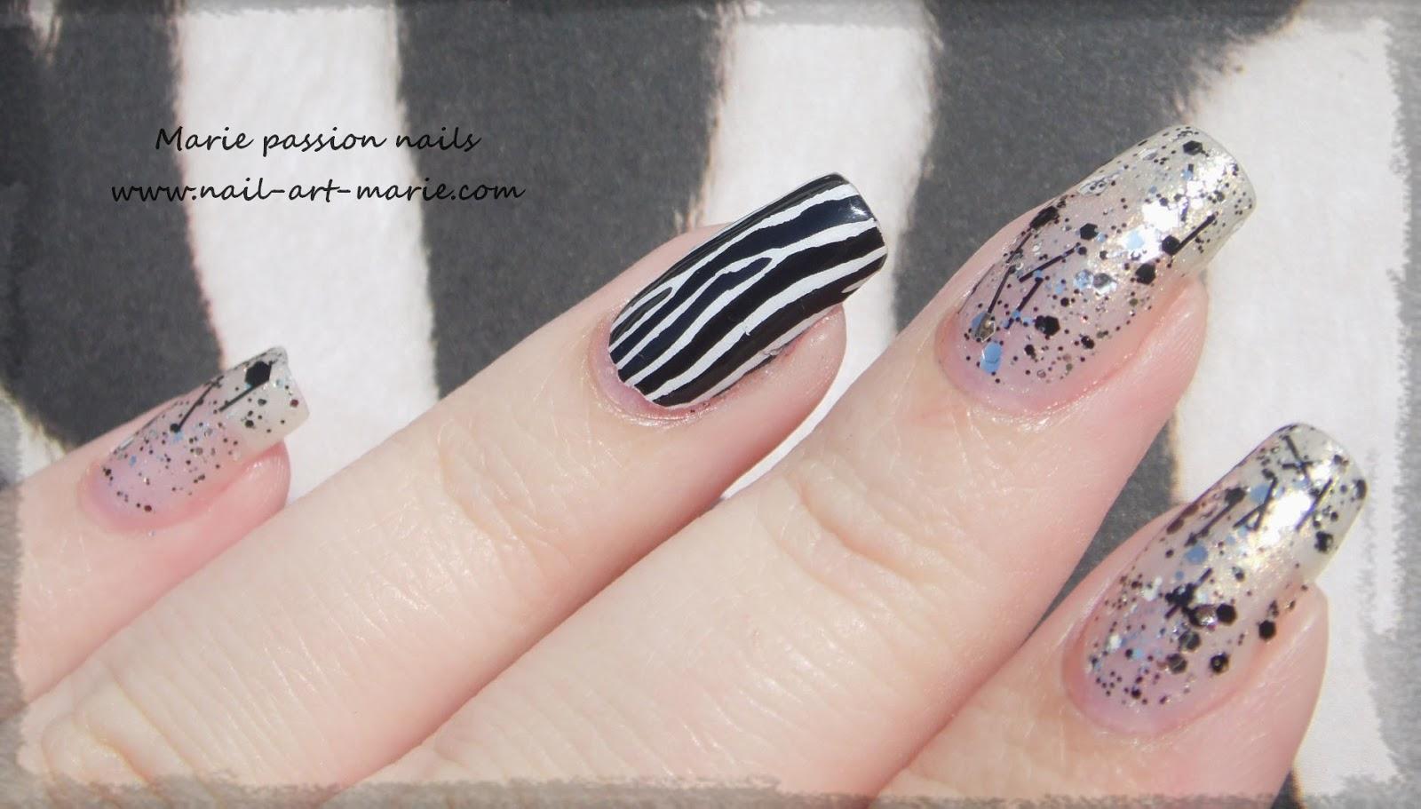 Nail art accent nail zébré5