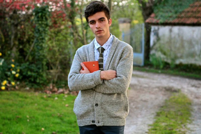 American Vintage Cardigan - Slected Chemise shirt - Asos Skinny Chino - Guidomaggi Shoes - Hermès agenda - blog mode homme mensfashion