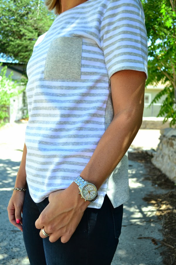 striped Old Navy shirt, silver watch