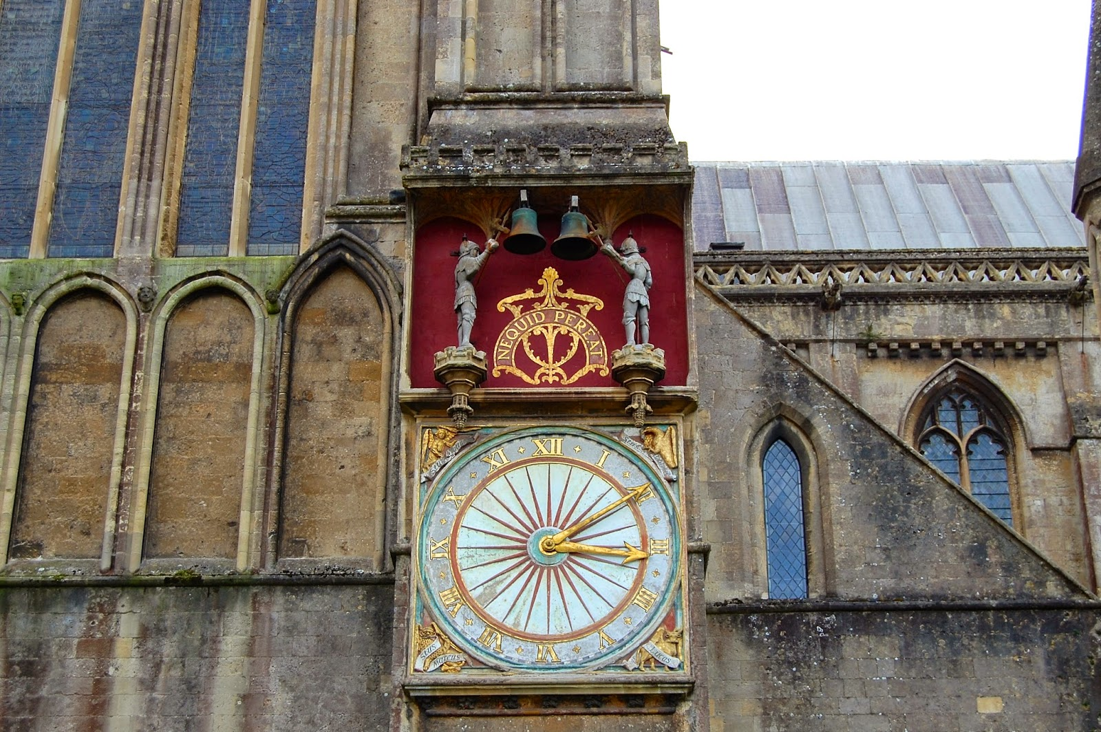 Exterior clock on Wells Cathedral