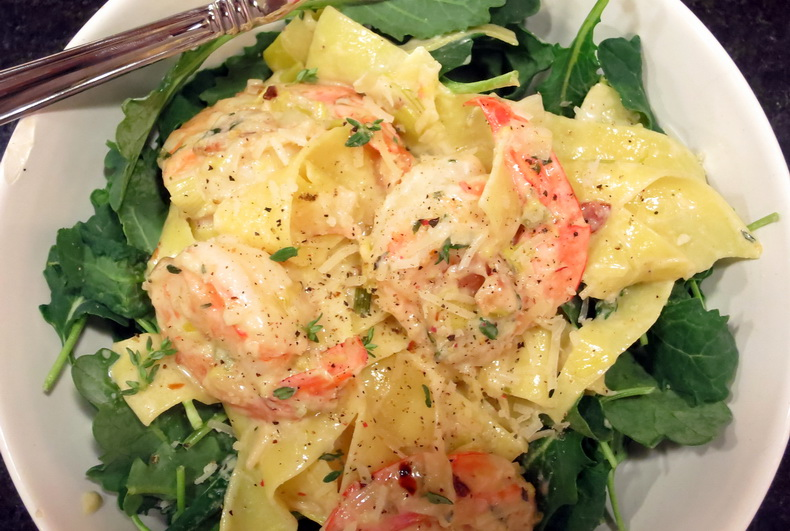 Pappardelle with Shrimp in a Bacon, Leek & Shallot Cream Sauce on Baby ...