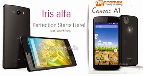 Compare Lava Iris alfa with Micromax Canvas A1 - Specs and Price