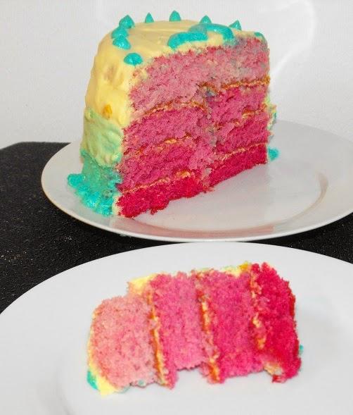 Ombrekaka, ombre, tårta, ombretårta, rolig tårta, alla hjärtans dag, solfjädertårta