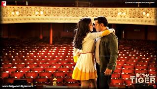 Katrina Kaif and Salman Khan Romancing HD Wallpaper from Ek Tha Tiger