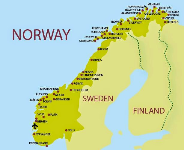 The largest cities of Norway
