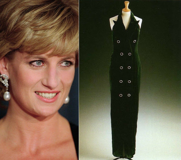 Princess Diana's Catherine Walker iconic bottle green velvet dress will be exhibited at Kensington Palace.