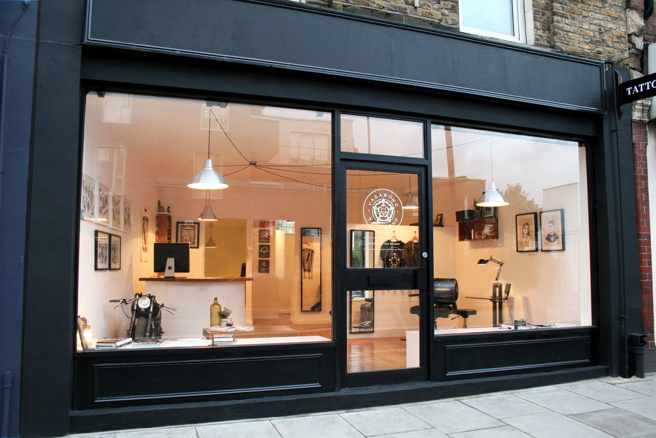 Vagabond tattoo studio london on the inside for Tattoo shop design