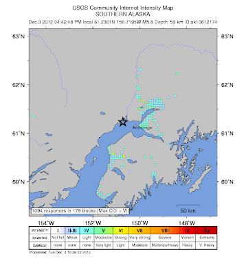 Epicentro sismo de 5,8 grados, Alaska, 04 de Diciembre 2012